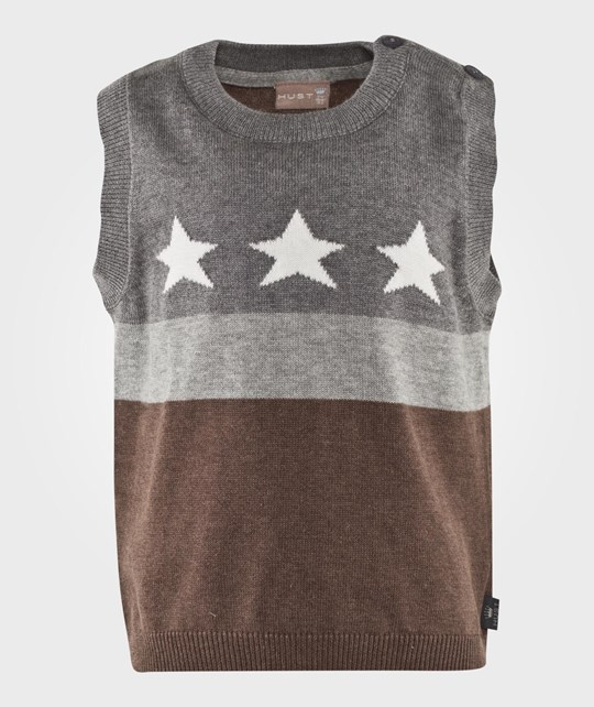 Hust&Claire Waistcoat Stars And Stripes Cub Brown Brun