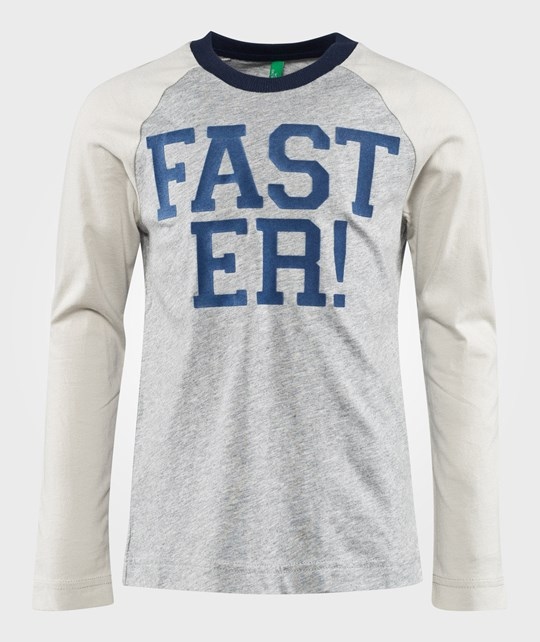United Colors of Benetton Лонгслив Faster T-Shirt With Contrast Colour Sleeves Grey серый