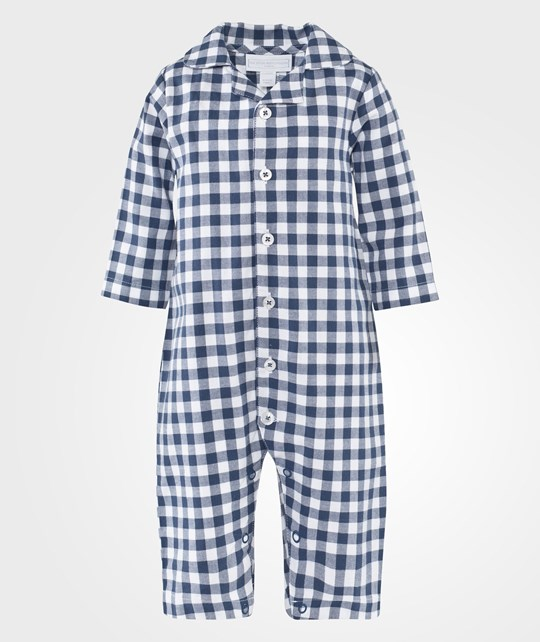 The Little White Company Blue Flannel Ls Check Babygrow Blue