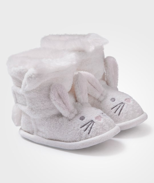 The Little White Company White Textured Bunny Booties White