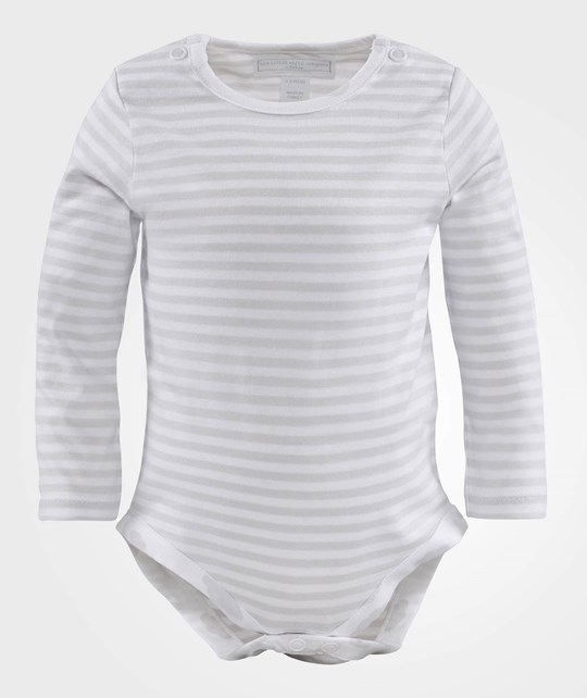 The Little White Company Grey And White Stripe Ls Body W Spot Trim Grå