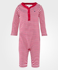 The Little White Company Red Stripe Footless  Ls Babygrow
