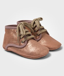 Angulus Copper Glitter Shoes With Laces