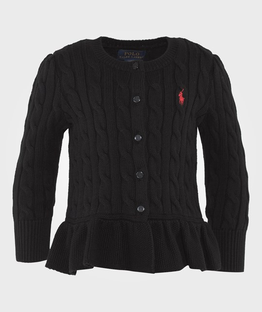 Ralph Lauren Cabled Cotton Cardigan Black POLO BLACK