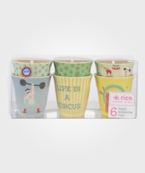 RICE A/S Set of 6 Circus Print Cups Yellow