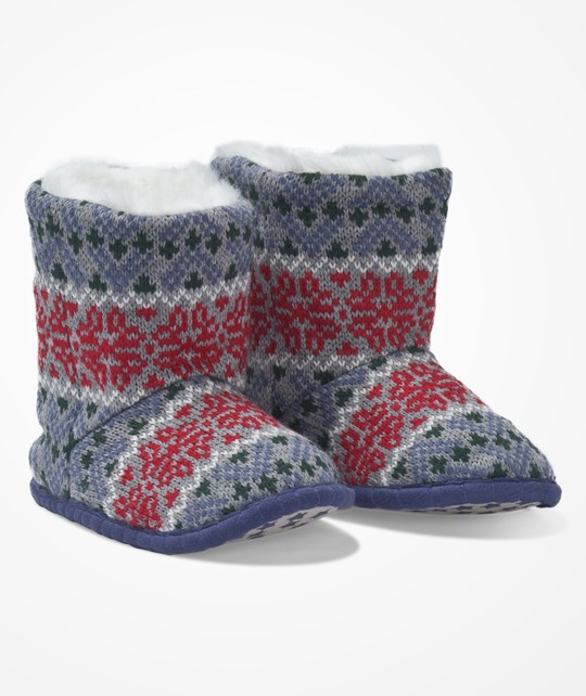 The Little White Company Grey Fairisle Slippers Grey