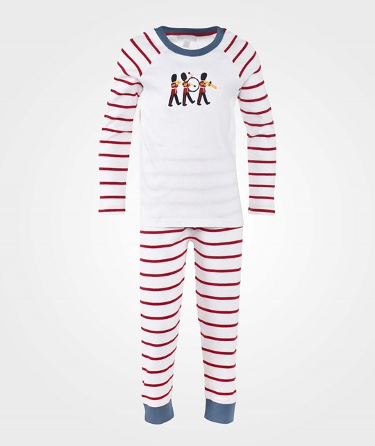 The Little White Company Red Stripe Ls Marching Band Print Pyjamas Red