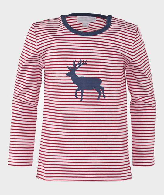 The Little White Company Red And White Ls Stripe Tee W Reindeer Graphics Rød