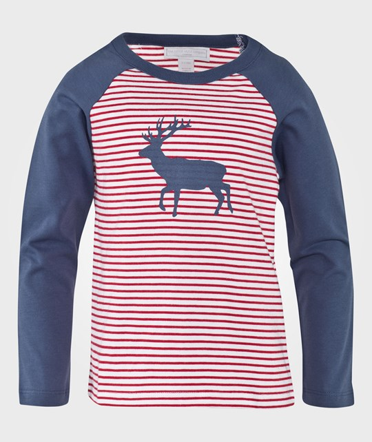 The Little White Company Red And White Stripe W Blue Raglan Sleeve Tshirt W Reindeer Pint Blå