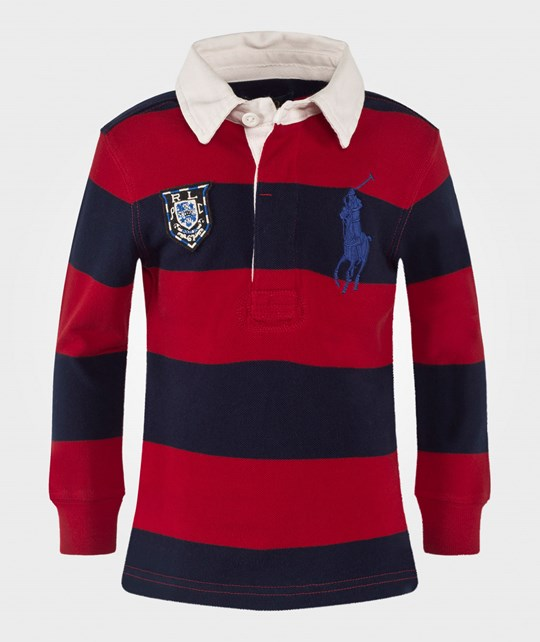 Ralph Lauren Striped Cotton Mesh Rugby RL Red Red