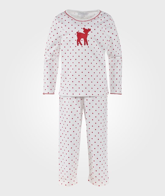 The Little White Company White And Red Fawn Print Pyjamas W Polka Dots Rød