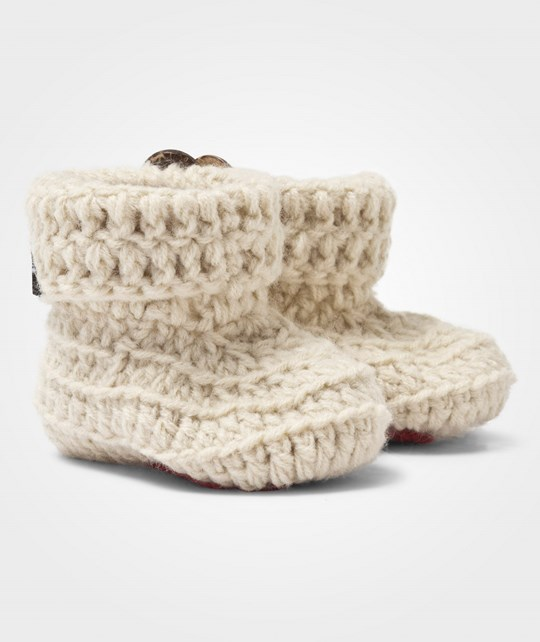 Lundmyr Of Sweden Handknitted Booties Offwhite 白色