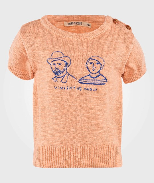 Bobo Choses Knitted Tee Vincent et Pablo Apricot Wash Apricot wash