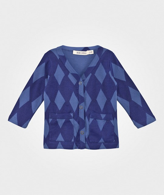 Bobo Choses Cardigan Diamonds Steel Blue Steel Blue