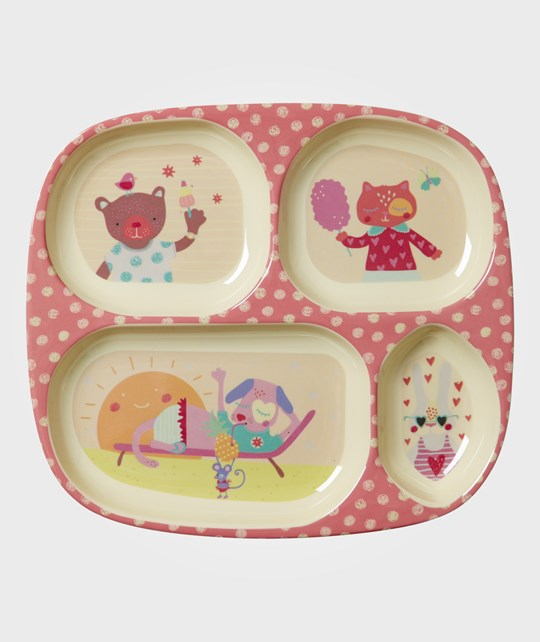Rice Happy Camper Melamine Divided Plate Pink