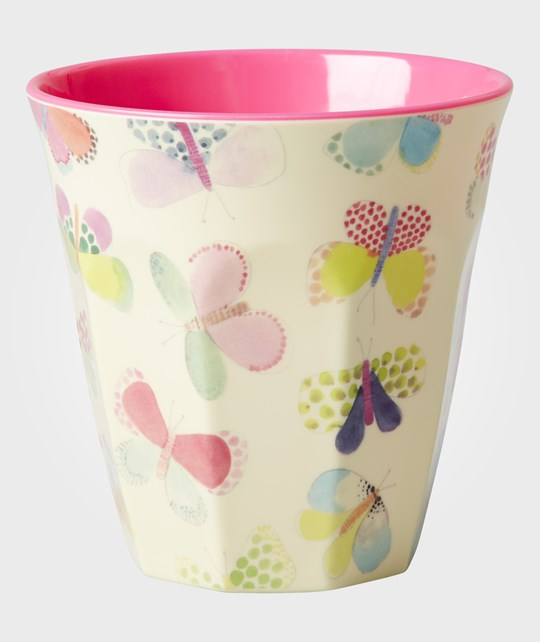 Rice Melamine Cup Two Tone with Butterfly Print Multi