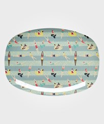 RICE A/S Rectangular Melamine Plate with Swimster Print Blue Multi