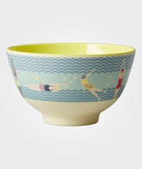RICE A/S Small Melamine Bowl Two Tone with Swimster Print Yellow and blue Multi