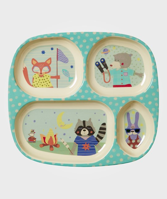 Rice Kids 4 Room Melamine Plate with Boys Happy Camper Print Turkos