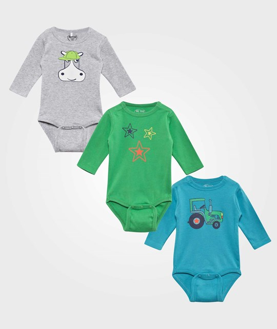 Me Too Gulliver Baby Body 3-pack Island Green Island Green