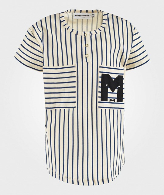 Mini Rodini Striped Baseball Tee Blue Blue