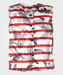Wolf & Rita Gabriela Top Red & White Red & White striped with black birds