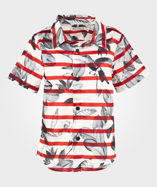 Wolf & Rita Christiano Shirt Red & White Red & White striped with black birds