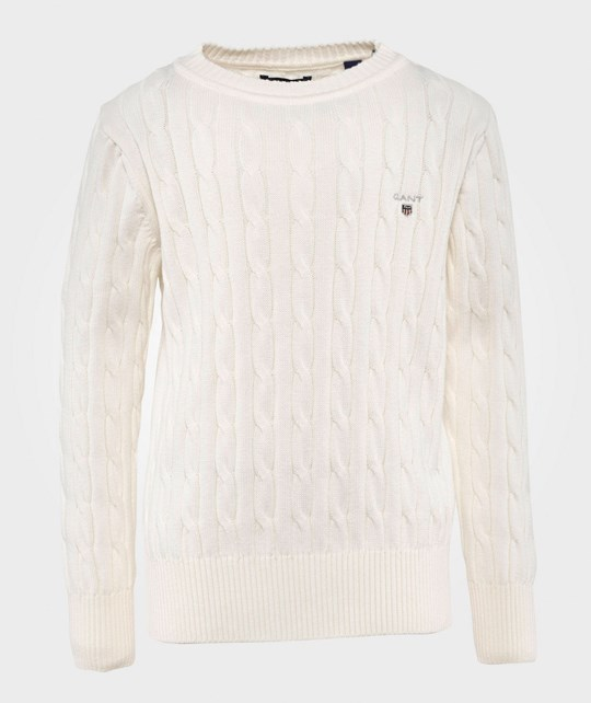 GANT Cotton Cable Knit Crewneck Eggshell Eggshell