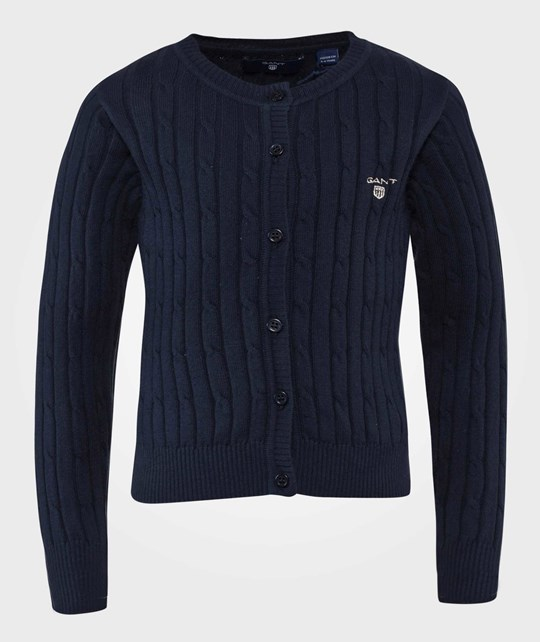 GANT Cable Knit Cardigan Evening Blue Evening Blue