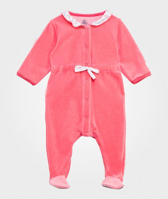 Petit Bateau Velour Footed Baby Body Pink Lyserød