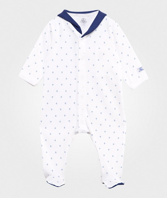 Petit Bateau Sailor Footed Baby Body Blå