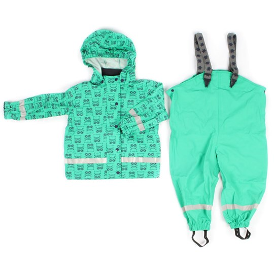Green Cotton Tam Rain Set Green