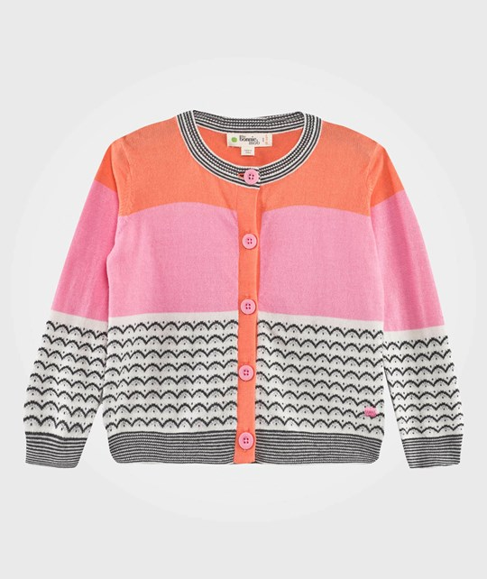 The Bonnie Mob Lightweight Knit Mini Wave Jaquard Cardigan Pink Pinks/Monochrome
