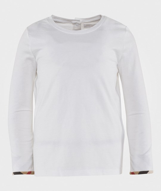 Burberry Tulisa Long Sleeve T-shirt with Check Piping on sleeves White White