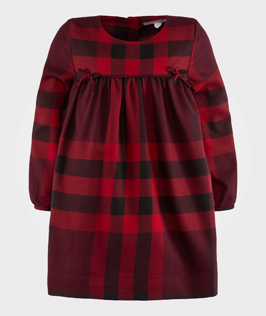 Burberry Thea Woven Check Dress Red Burgundy Red