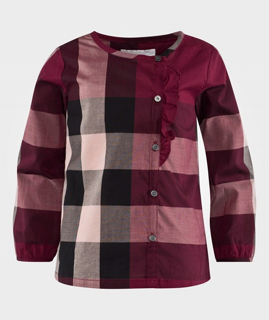 Burberry Alaya Long-Sleeve Cotton Check Top Berry Pink Berry Pink