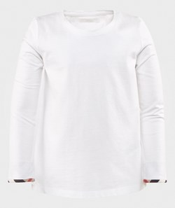 Burberry Tulisa Check-Cuff Long-Sleeve Tee White