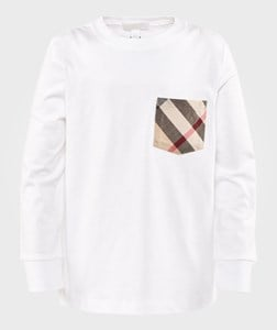 Image of Burberry Long Sleeve T-Shirt With Nova Check Pocket White 10 år (2743757709)