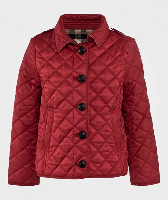 Burberry Check Lined Diamond Quilted Jacket Military Red Military Red