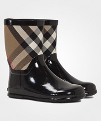 Burberry House Check Panel Rain Boots Black Black