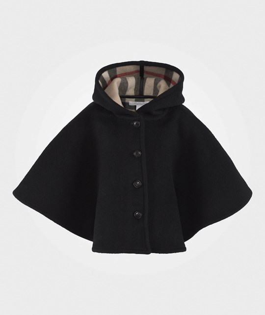 Burberry Check Lined Wool Cape Black Black