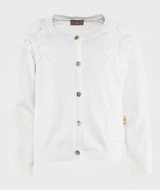 Hust&Claire Cardigan w. Pointelle White White