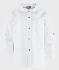 Hust&Claire Shirt w. Chinese Collar White