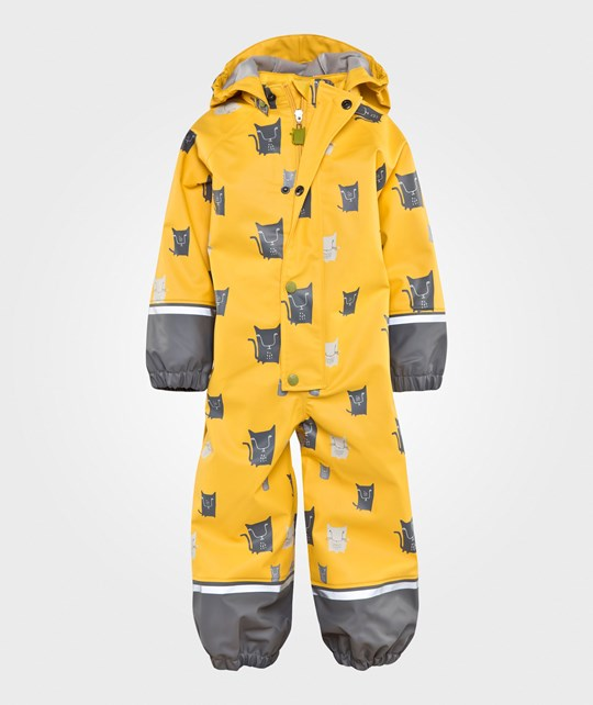 Kattnakken Rain Suit Yellow Cat Gul Med Katter
