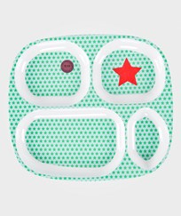 RICE A/S Kids 4 Room Plate Star Print  Multi