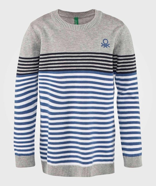 United Colors of Benetton Stripe Logo Knit Jumper Grey GREY 911