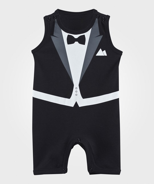 The Tiny Universe The Tiny Summer Romper Black Black, White and grey