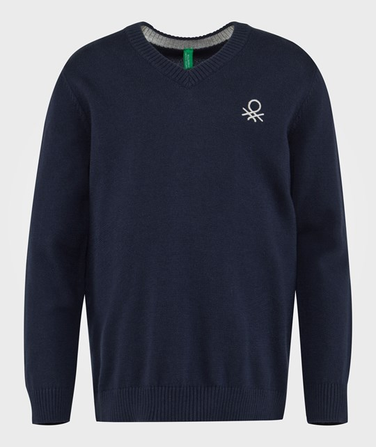 United Colors of Benetton Knit Logo Jumper Navy NAVY 13C