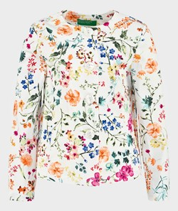 United Colors of Benetton Floral Jacket Off White