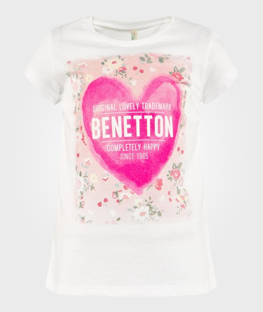 United Colors of Benetton Logo Heart T-Shirt White WHITE 101